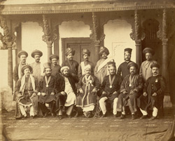 [Group portrait of] Sir Madava Rao and ministers of Baroda.